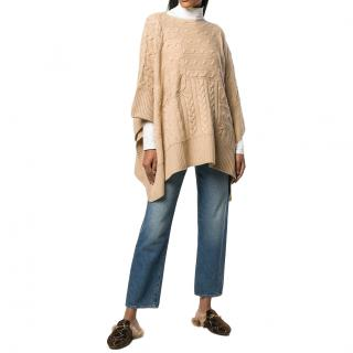 Polo Ralph Lauren cable knit wool & cashmere poncho