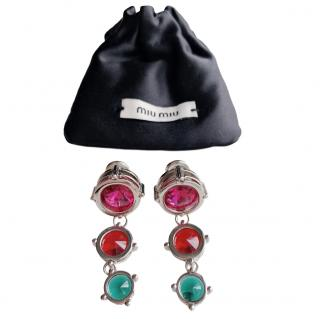 Miu Miu clip-on multi-coloured crystal earrings