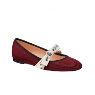 Miss J'adior burgundy technical canvas ballet flats