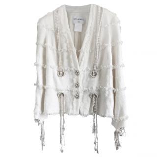 Chanel Ecru Tweed Chain & Pearl Trimmed Jacket
