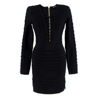 Balmain Black Fitted Lace-Up Mini Dress