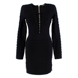 Balmain Black Fitted Lace-Up Mini Dress