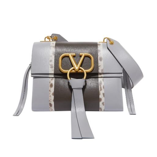 Valentino Garavani VRING watersnake-trimmed color-block leather bag