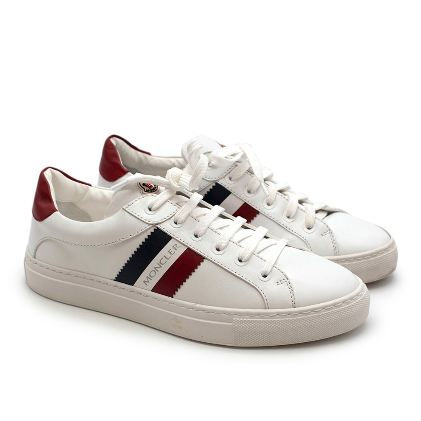 Moncler White Ariel Low-Top Leather Sneakers