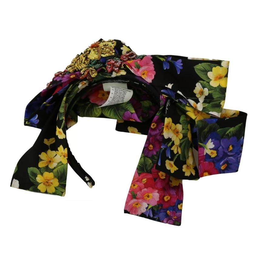 Dolce & Gabbana Crystal Embellished Floral Bow Headband