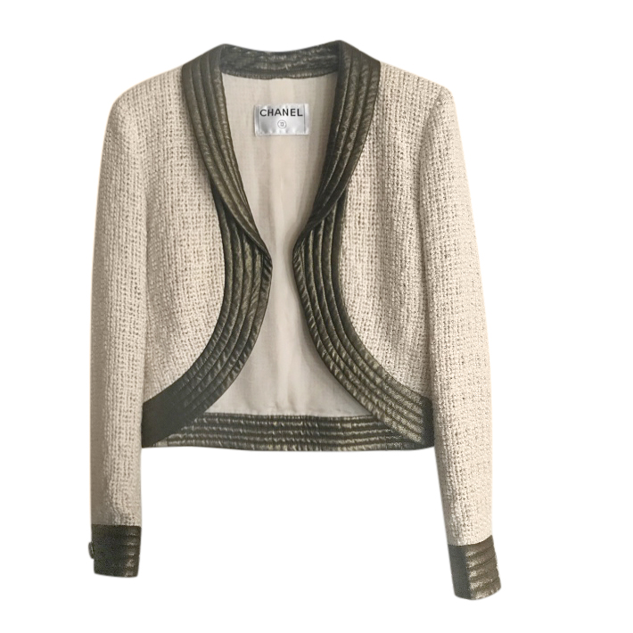 Chanel ecru & gold tweed bombay collection bolero