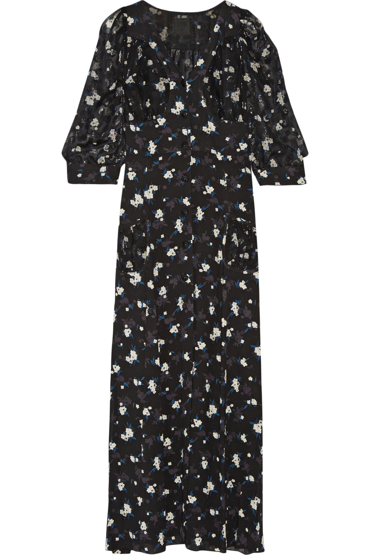 Anna Sui black floral printed fil coupe & crepe maxi dress