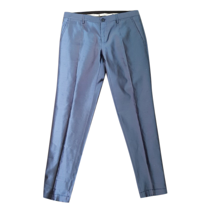 Dolce & Gabbana blue silk slim trousers