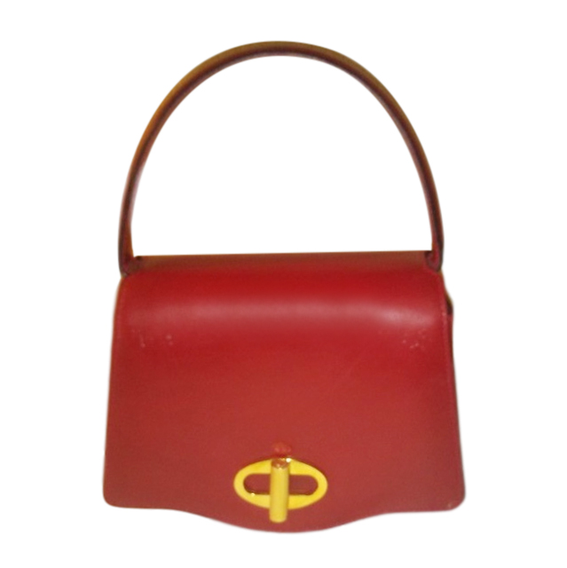 Dunhill Red Leather Top Handle Bag