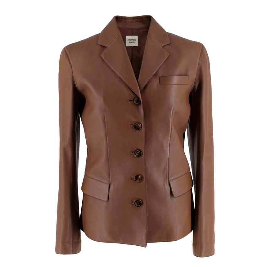 Hermes Brown Soft Leather Single Breasted Tailored Jacket