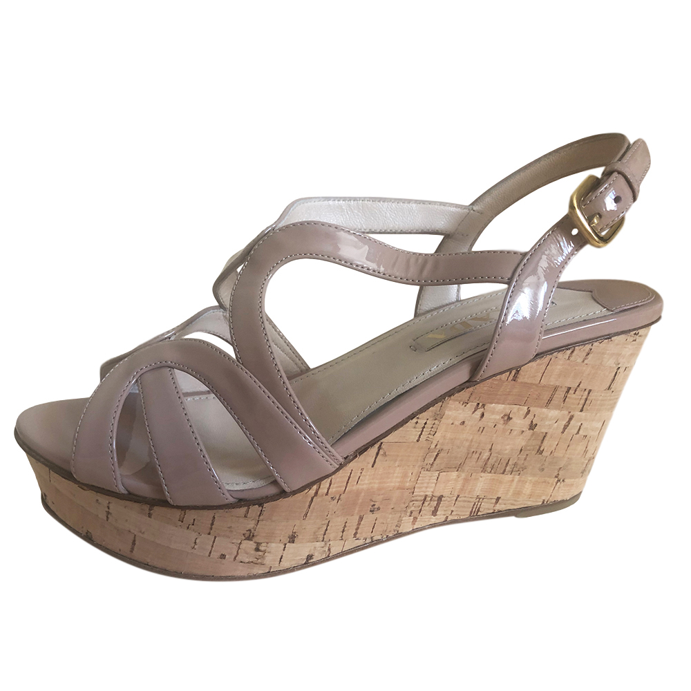 Prada nude patent leather cork wedges