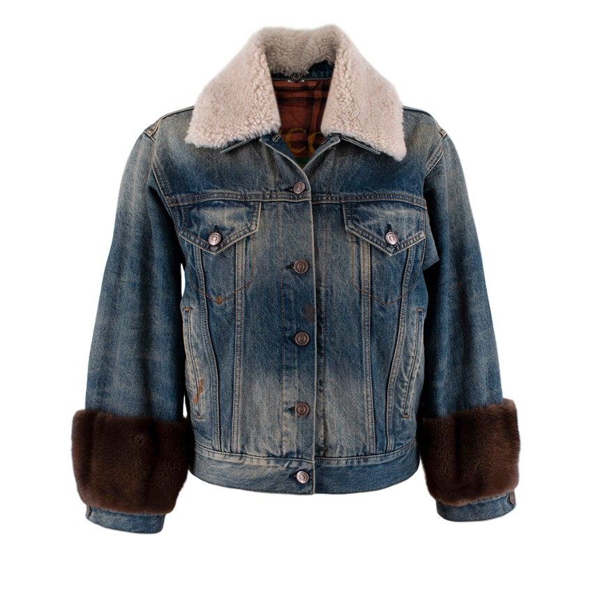 Gucci Guccification Denim Jacket with Mink Fur Trim & Shearling Collar