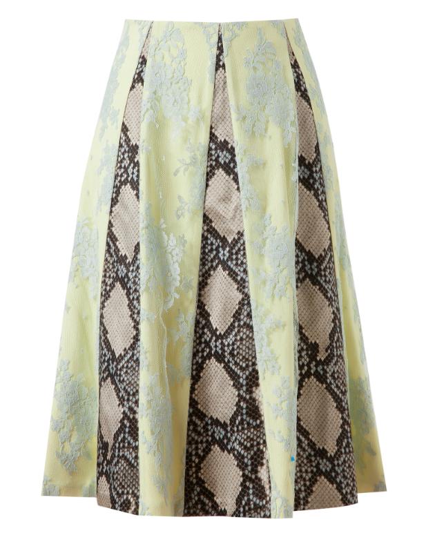 Etro Jemima Lace And Python Printed Silk Skirt
