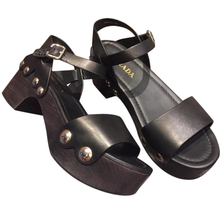 Prada black leather platform embellished sandals