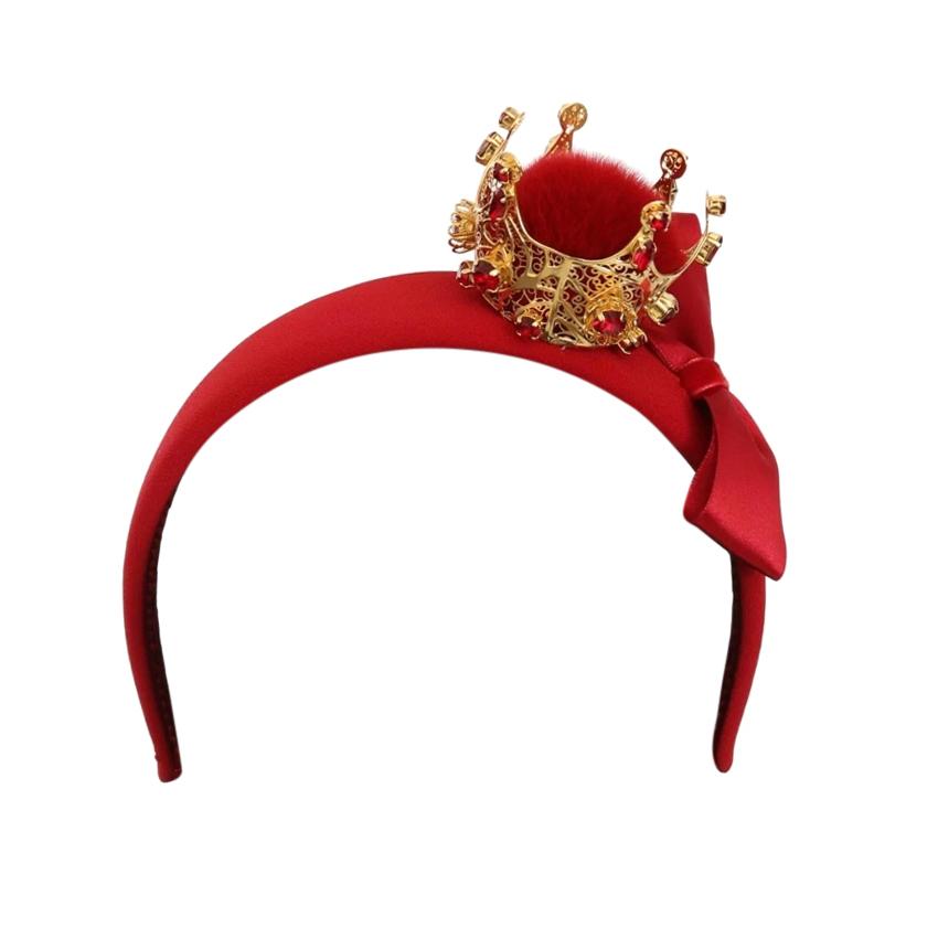 Dolce & Gabbana Red SIlk Headband with Fur Crown Embellishment