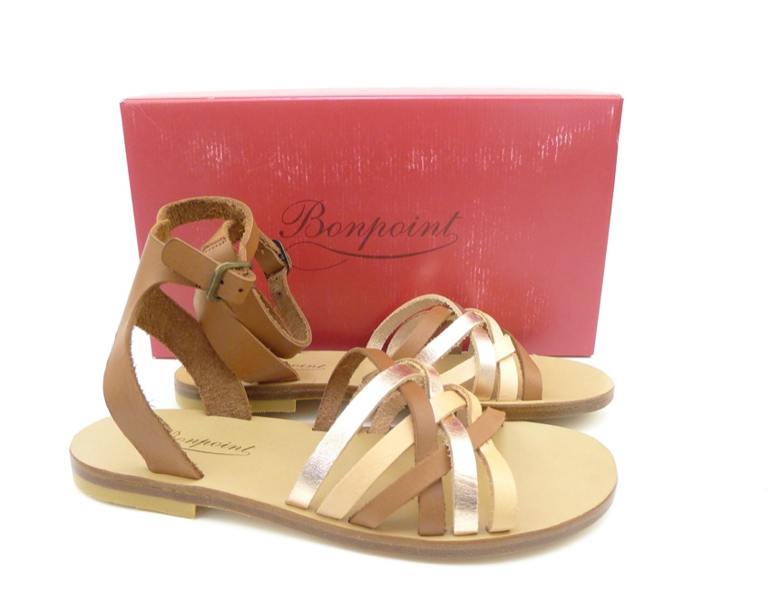 Bonpoint brown leather strappy sandals