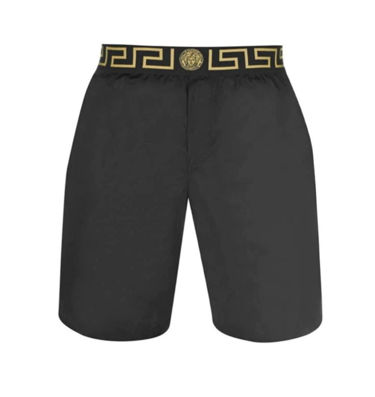 Versace Black Icon Swimming Trunks with Baroque Lining