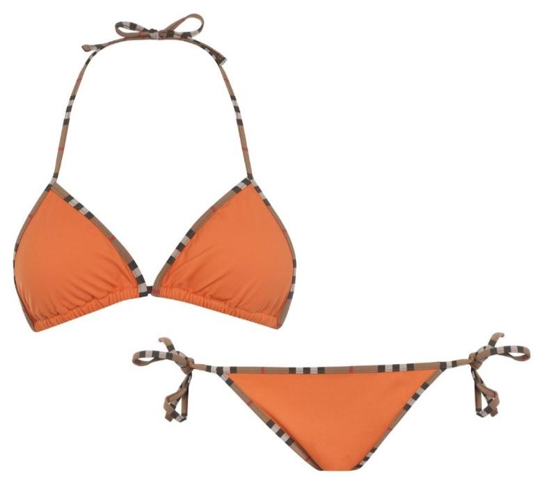 Burberry Orange Cobb Bikini with Vintage Check Trim