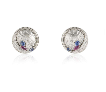 Bespoke 18ct White Gold Diamond, Ruby and Sapphire earrings