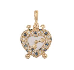 Bespoke Diamond & Sapphire Heart Clock Pendant