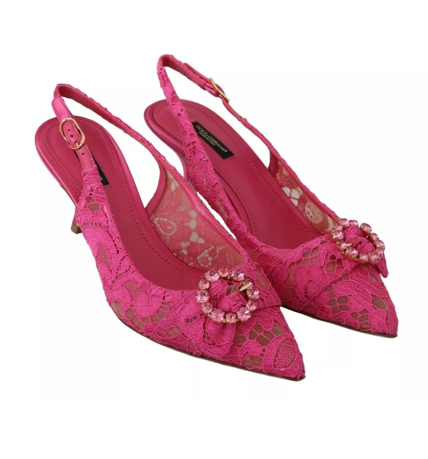 Dolce & Gabbana Pink Lace Slingbacks