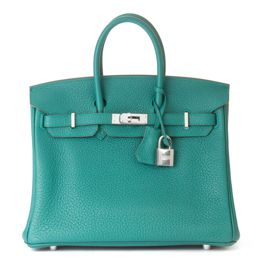 Hermes 25cm Malachite Togo Leather Birkin
