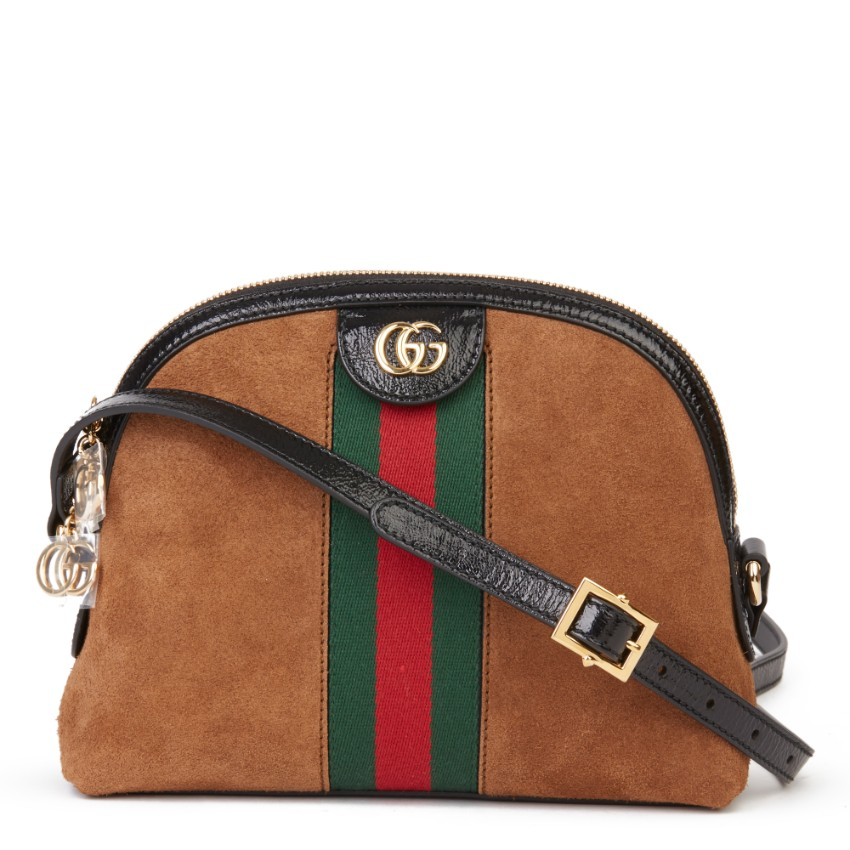 Gucci Small Orphidia aged patent leather & brown suede crossbody bag