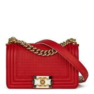 Chanel Red & White Debossed leather Small Boy Bag