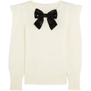 Saint Laurent sequin bow embellished peak-shoulder cream sweater