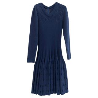 Alaia navy wool blend flare knitted dress
