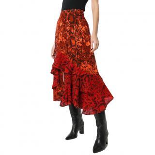 Preen by Thornton Bregazzi Delaney Red Snakeskin Printed Midi Skirt