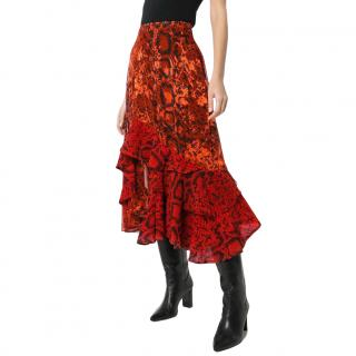 Preen by Thornton Bregazzi Delaney Red Snakeskin Printed Midi Skirt
