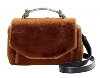 Maje Brown Faux Fur & Leather Crossbody Bag
