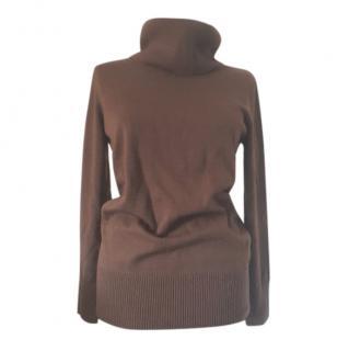 Max Mara Coffee Brown Roll Neck Wool Jumper