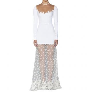 Alessandra Rich white embellished lace gown