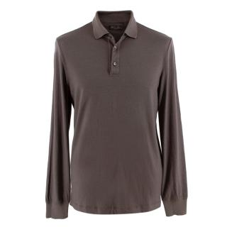 Loro Piana Chocolate Cashmere Knit Polo