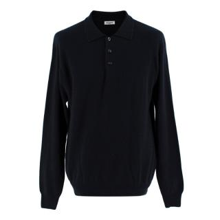 Balmain Black Cashmere Polo Jumper