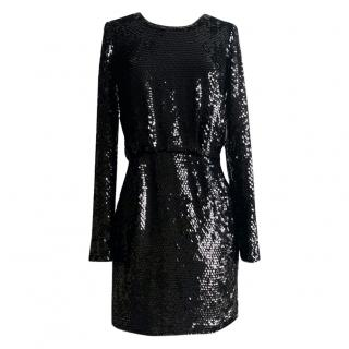 Rachel Zoe black sequin long-sleeve mini dress