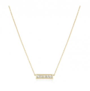 Bespoke Yellow Gold Diamond Bar Necklace