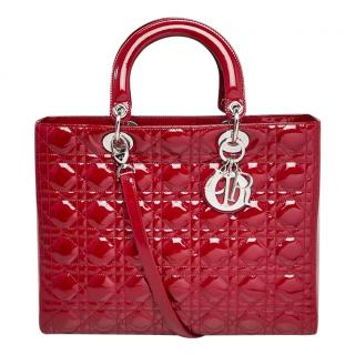 Christian Dior red patent leather cannage Lady Dior handbag