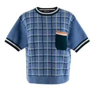 Miu Miu Blue Plaid Wool Knit Boxy Crop Top