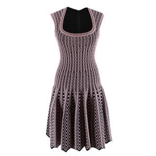 Alaia Black & Pink Stretch Knit Scalloped Dress