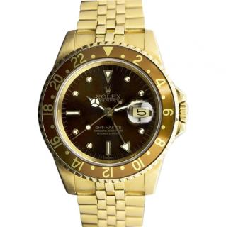 Rolex Yellow Gold 40mm GMT Master Watch Brown Nipple Dial