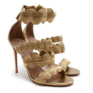 Aquazzura Gold Leather Leather Ankle Wrap Sandals