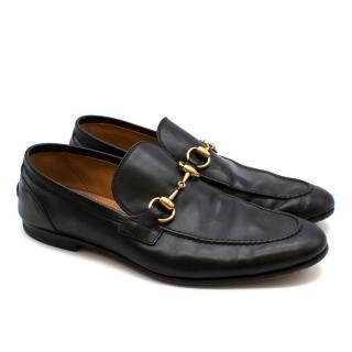 Gucci Black Leather Horsebit Black Loafers