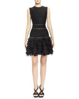 Alexander McQueen black ruffle mini dress