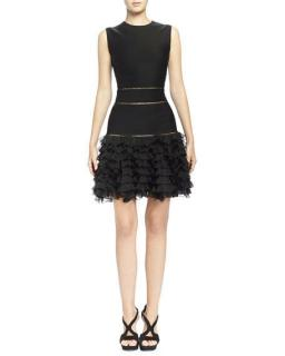 Alexander McQueen black ruffle mini dress