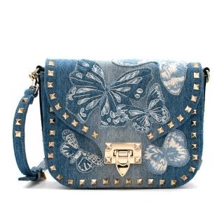 Valentino Denim Embroidered Butterfly Cross Body Bag