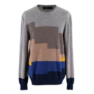 Etro Mens Large Cashmere Colourblock Jumper