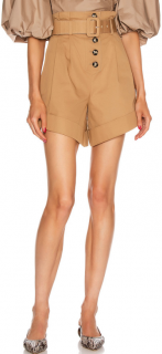 Self Portrait Camel Canvas Turn up Shorts